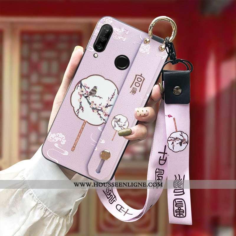 Coque Huawei P30 Lite Gaufrage Fluide Doux Protection Ornements Suspendus Rose Silicone