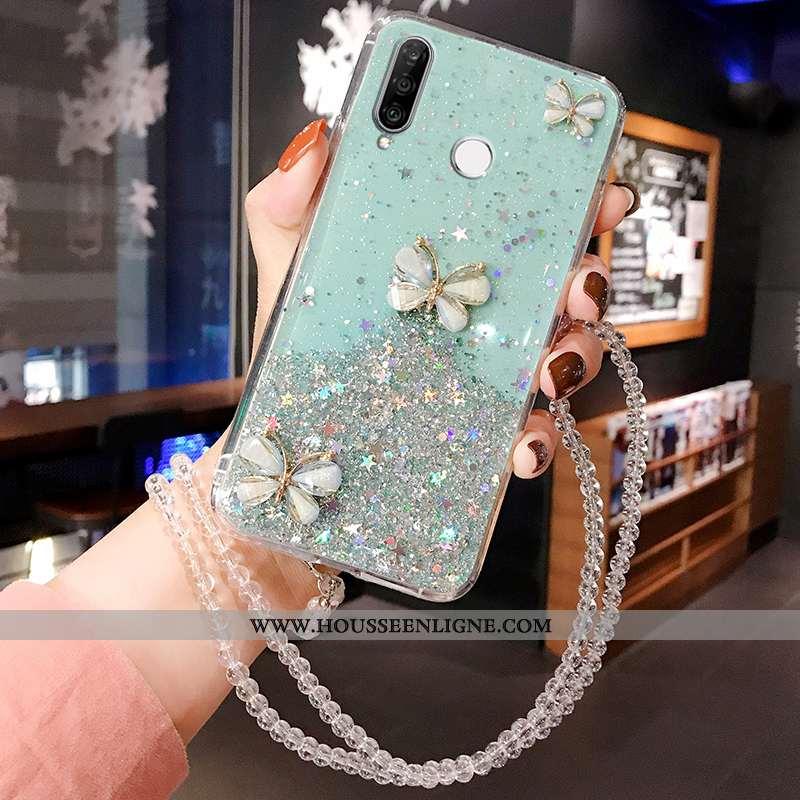 Coque Huawei P30 Lite Silicone Mode Tout Compris Nouveau Étui Personnalité Fluide Doux Bleu