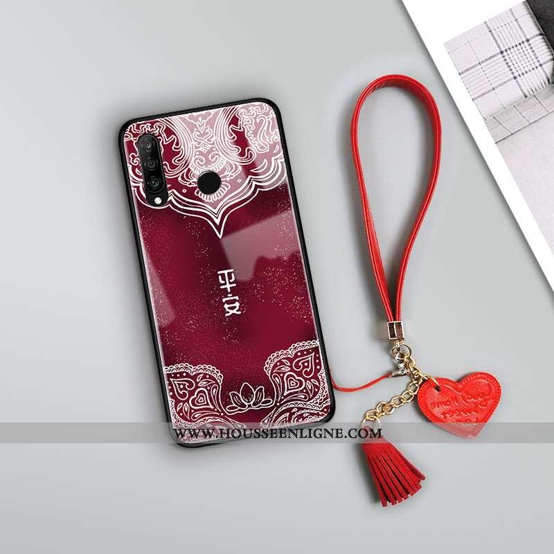 Coque Huawei P30 Lite Tendance Fluide Doux Téléphone Portable Totem Amoureux Vent Protection Bordeau