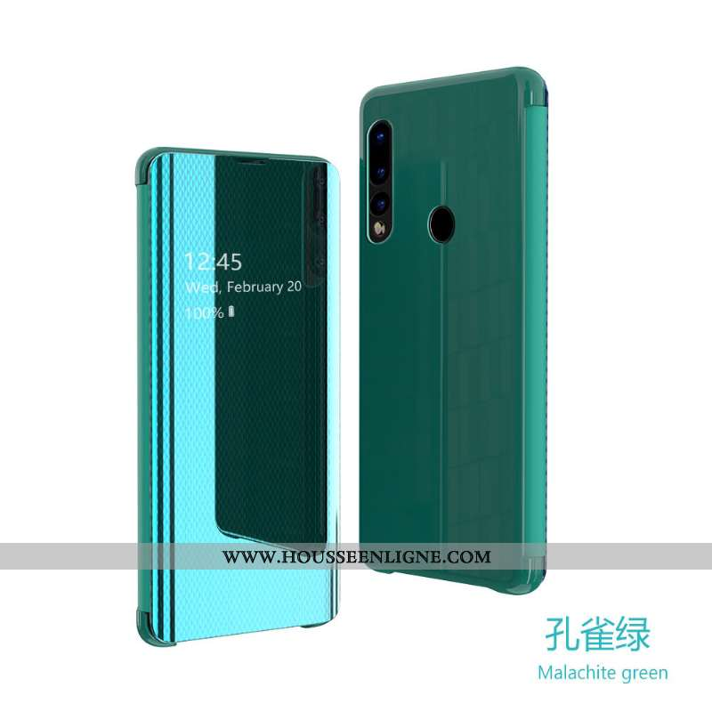 Coque Huawei P30 Lite Transparent Cuir Téléphone Portable Housse Vert Miroir Verte