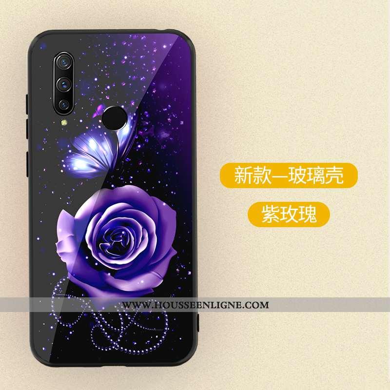 Coque Huawei P30 Lite Xl Dessin Animé Tendance Verre Peinture Délavé En Daim Incassable Violet