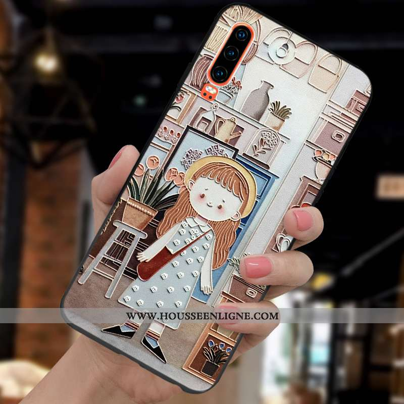 Coque Huawei P30 Mode Protection Légère Gaufrage Tout Compris Ultra Étui Khaki