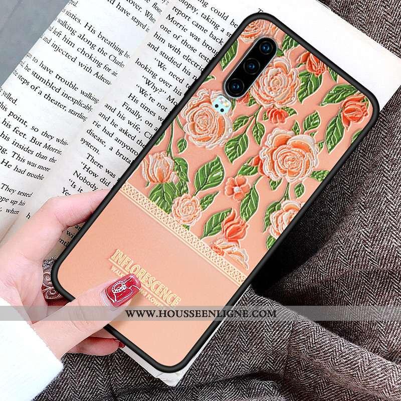 Coque Huawei P30 Personnalité Créatif Protection Fleur Peinture Silicone Rose
