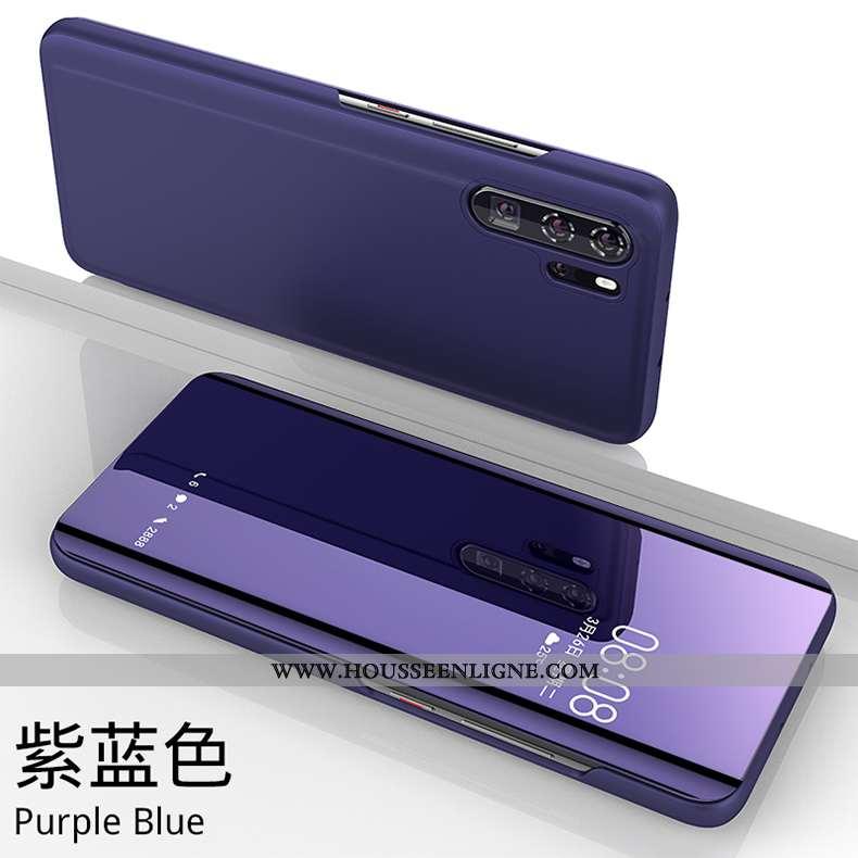 Coque Huawei P30 Personnalité Cuir Téléphone Portable Étui Verre Miroir Protection Violet