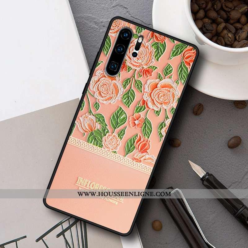 Coque Huawei P30 Pro Délavé En Daim Personnalité Simple Étui Peinture Créatif Rose