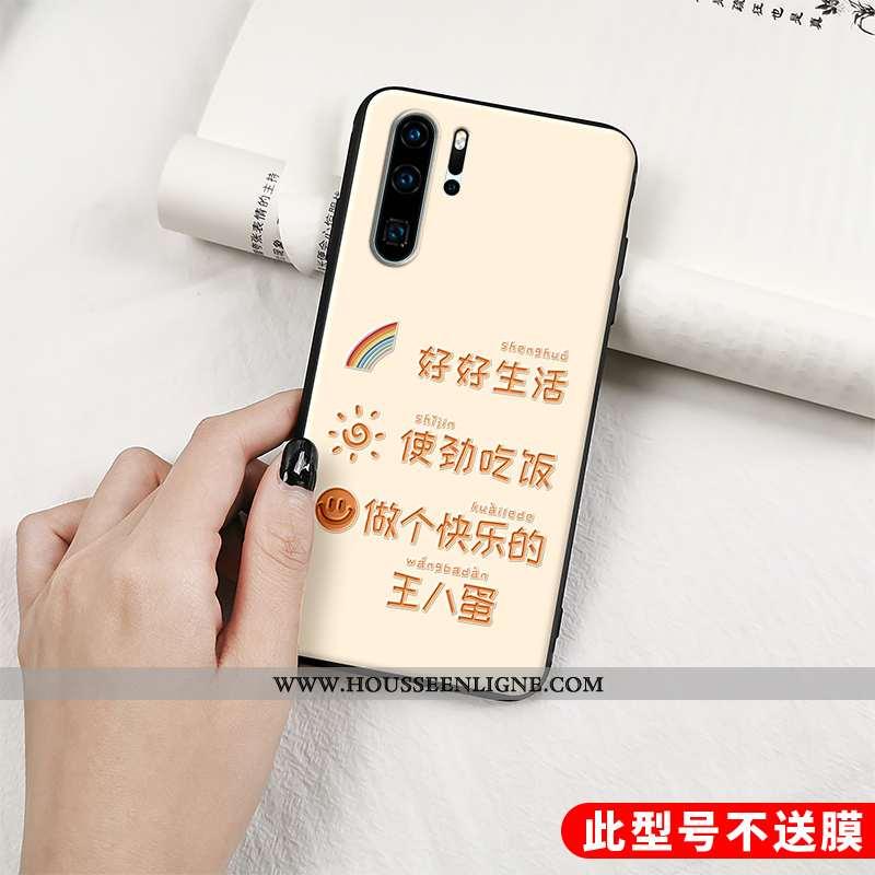 Coque Huawei P30 Pro Personnalité Gaufrage Fluide Doux Tout Compris Net Rouge Silicone Beige