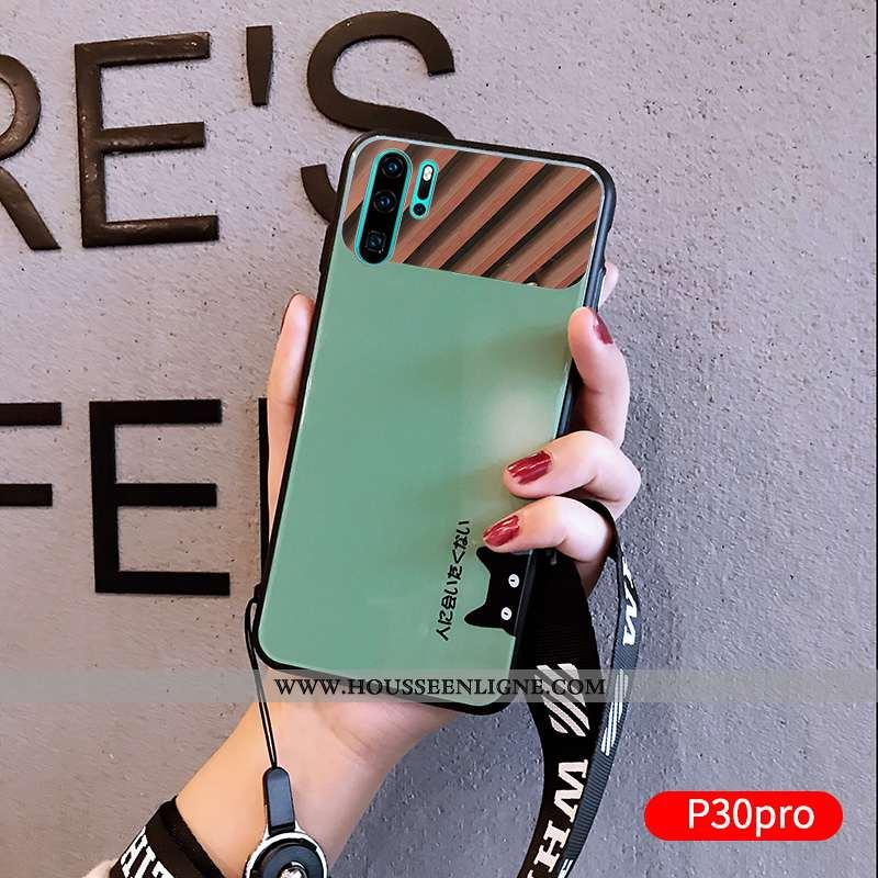 Coque Huawei P30 Pro Silicone Verre Miroir Charmant Fluide Doux Dessin Animé Amoureux Verte