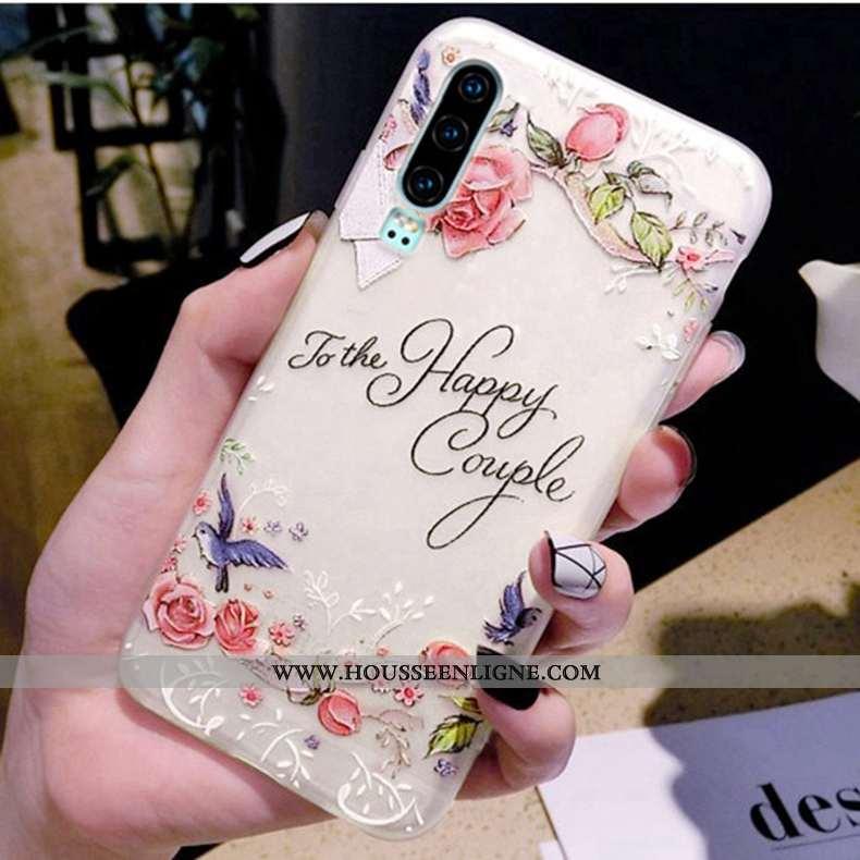 Coque Huawei P30 Transparent Délavé En Daim Incassable Téléphone Portable Ultra Tendance Rose