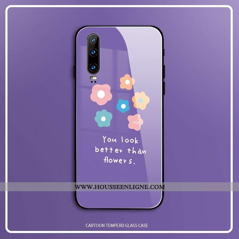 Coque Huawei P30 Verre Créatif Net Rouge Tout Compris Étui Vent Téléphone Portable Violet