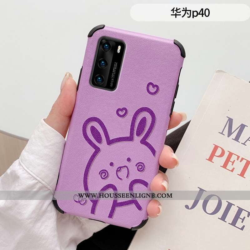 Coque Huawei P40 Créatif Gaufrage Silicone Charmant Incassable Cuir Protection Violet