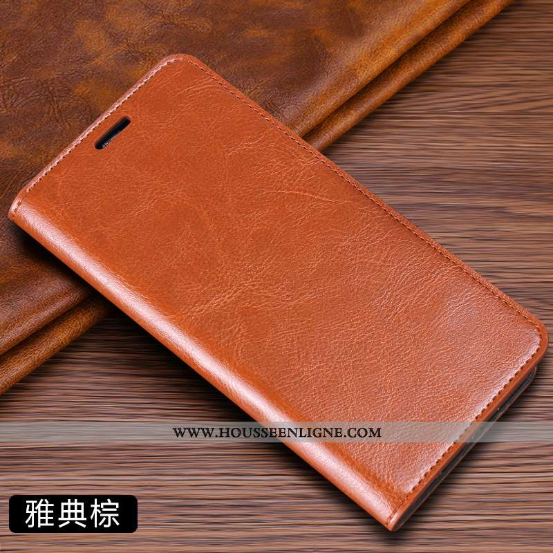Coque Huawei P40 Cuir Véritable Personnalité Incassable Housse Téléphone Portable Marron