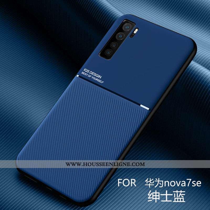 Coque Huawei P40 Lite 5g Cuir Modèle Fleurie Étui À Bord Bleu Fluide Doux