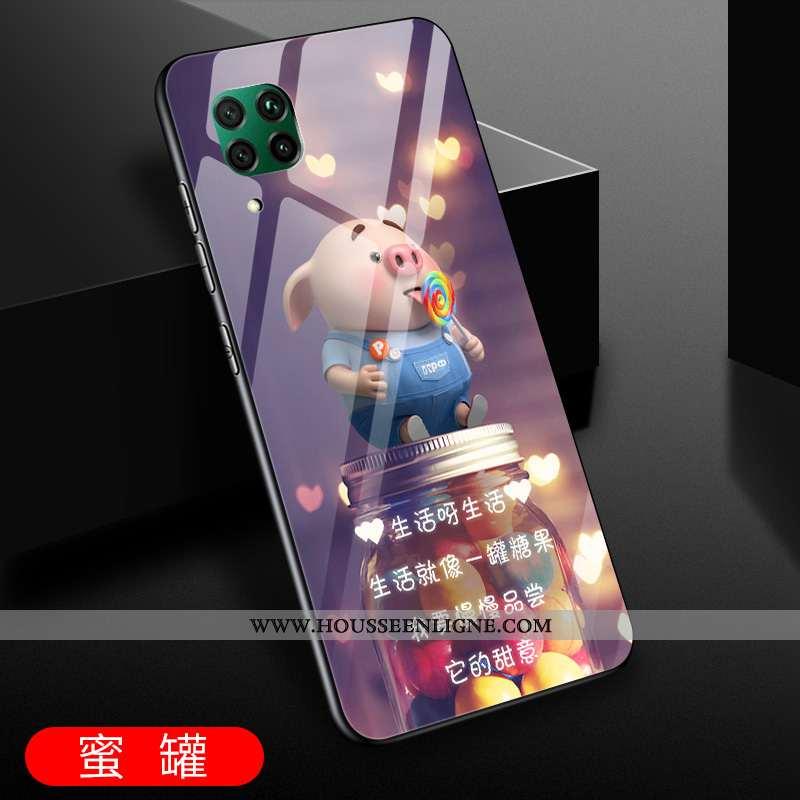 Coque Huawei P40 Lite Créatif Protection Violet Verre Étui Amoureux Incassable