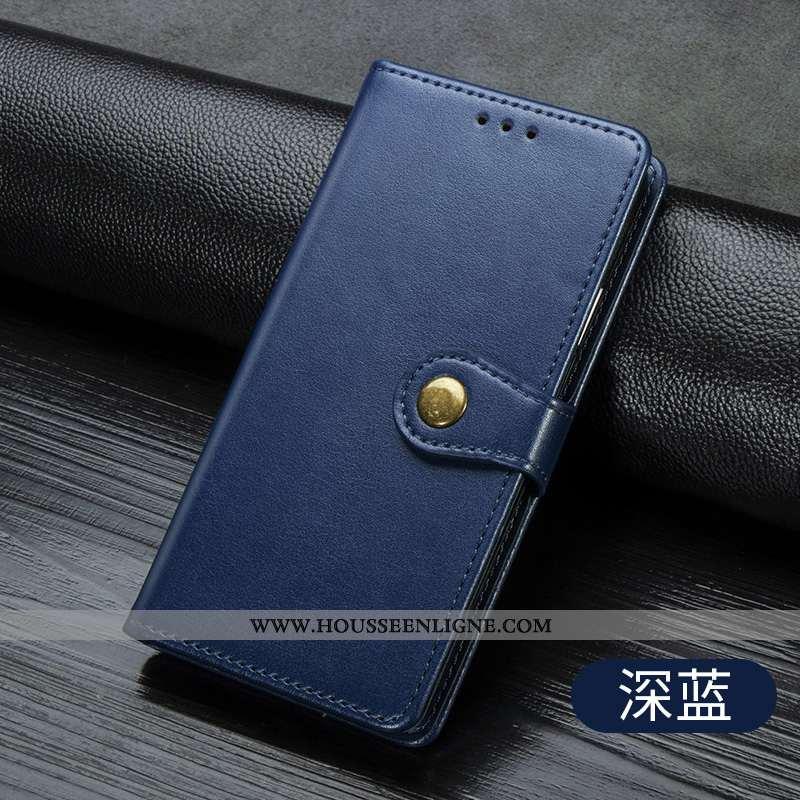 Coque Huawei P40 Lite Cuir Mode Téléphone Portable Simple Incassable Couleur Unie Bleu Foncé