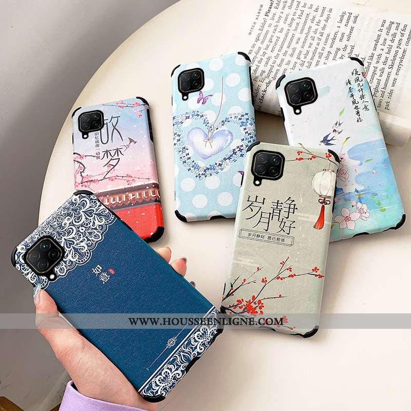 Coque Huawei P40 Lite Dessin Animé Fluide Doux Téléphone Portable Silicone Net Rouge Bleu Marin Bleu