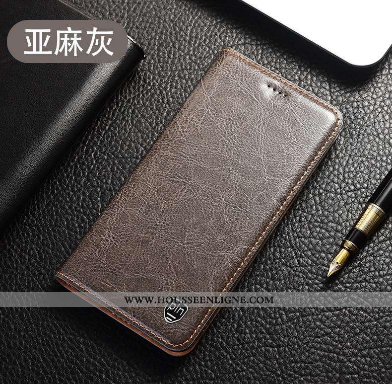 Coque Huawei P40 Lite E Cuir Véritable Modèle Fleurie Étui Housse Gris Incassable