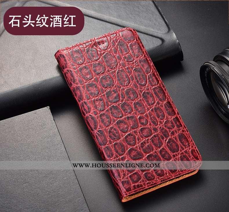 Coque Huawei P40 Lite E Cuir Véritable Modèle Fleurie Téléphone Portable Housse Étui Vin Rouge Incas