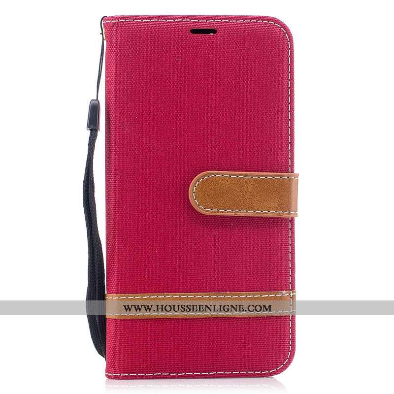 Coque Huawei P40 Lite E Portefeuille Cuir Étui Protection En Denim Housse Rouge