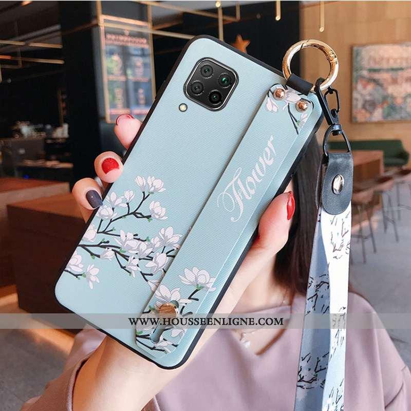 Coque Huawei P40 Lite Protection Délavé En Daim Bleu Fluide Doux Silicone Cou Suspendu