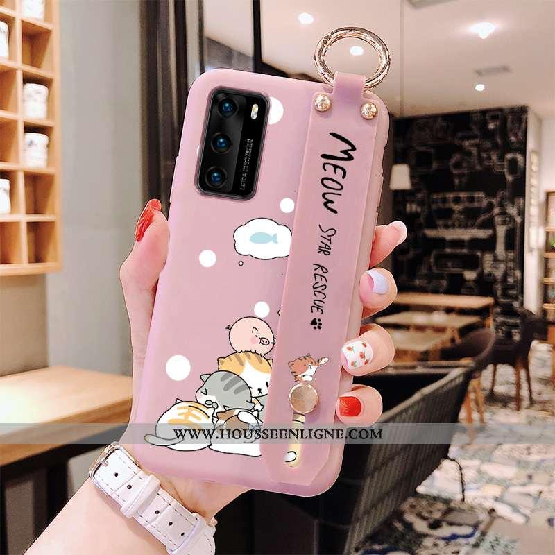 Coque Huawei P40 Personnalité Dessin Animé Téléphone Portable Incassable Silicone Rose