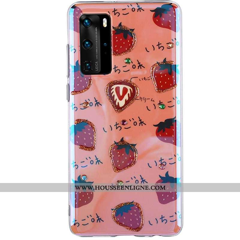 Coque Huawei P40 Pro Charmant Fluide Doux Téléphone Portable Cœur Incassable Silicone Rouge
