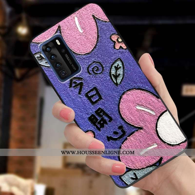 Coque Huawei P40 Pro Charmant Ultra Délavé En Daim Petit Fluide Doux Personnalité Tendance Violet