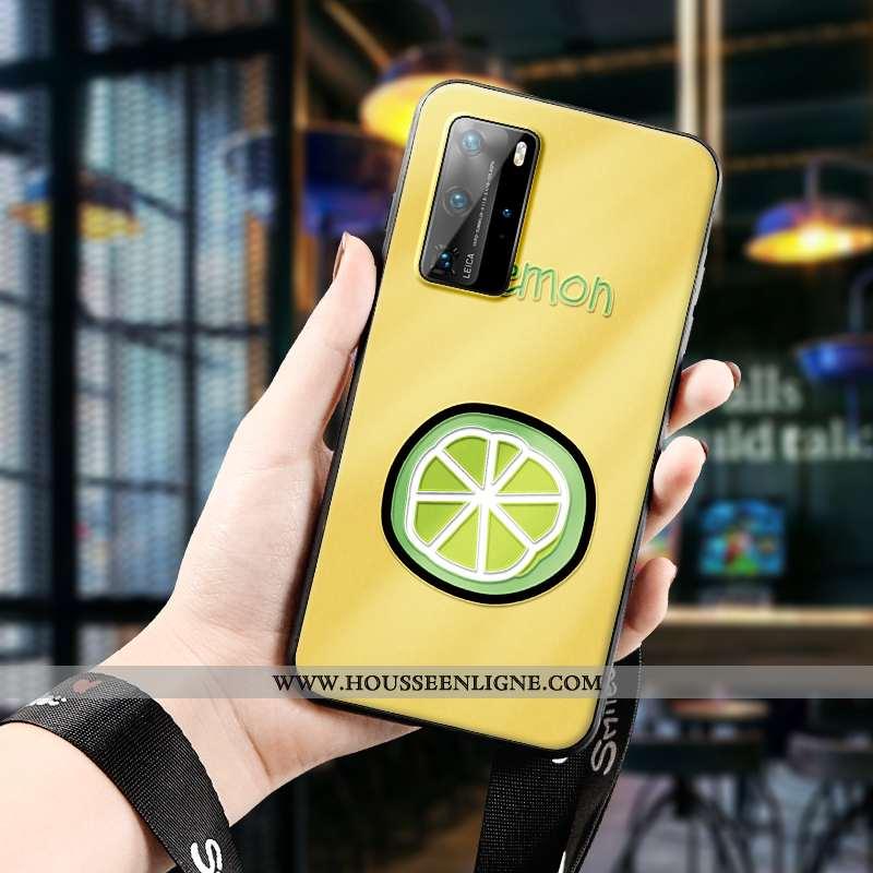 Coque Huawei P40 Pro Créatif Gaufrage Téléphone Portable Fruit Amoureux Tout Compris Citron Jaune