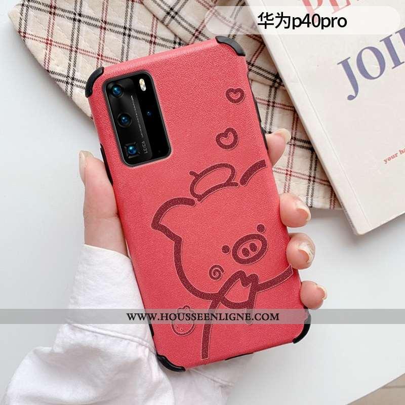 Coque Huawei P40 Pro Mode Protection Modèle Fleurie Étui Cuir Créatif Téléphone Portable Rouge