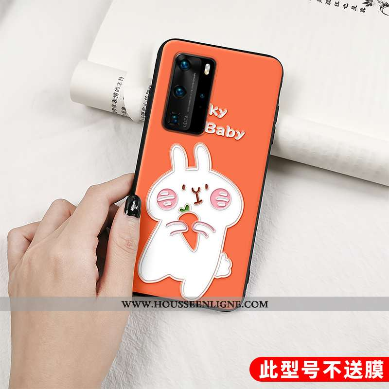 Coque Huawei P40 Pro Tendance Fluide Doux Lapin Tout Compris Protection Orange