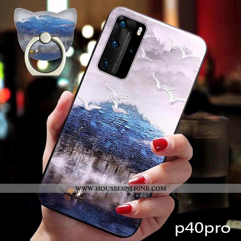 Coque Huawei P40 Pro Tendance Fluide Doux Vent Vintage Téléphone Portable Étui Bleu Foncé