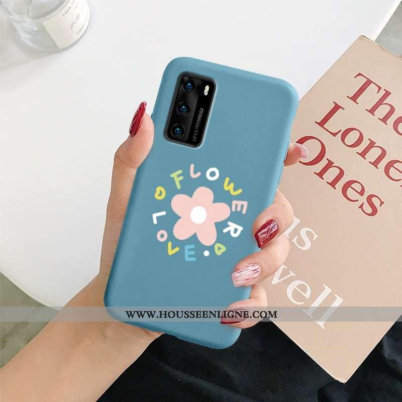 Coque Huawei P40 Silicone Fluide Doux Amoureux Téléphone Portable Incassable Nouveau Petit Bleu Fonc