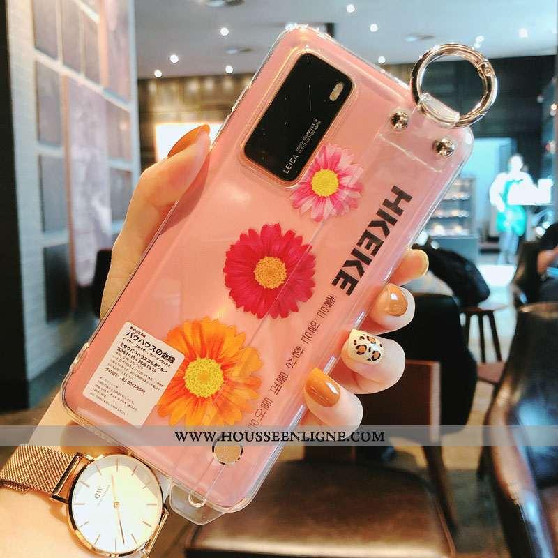 Coque Huawei P40 Silicone Protection Fleur Rose Argent Étui Transparent