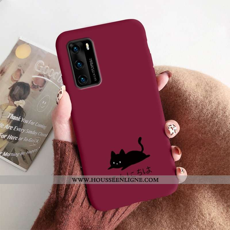 Coque Huawei P40 Silicone Protection Incassable Petit Délavé En Daim Tout Compris Rouge
