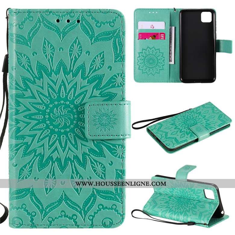 Coque Huawei Y5p Cuir Protection Téléphone Portable Étui Vert Incassable Verte