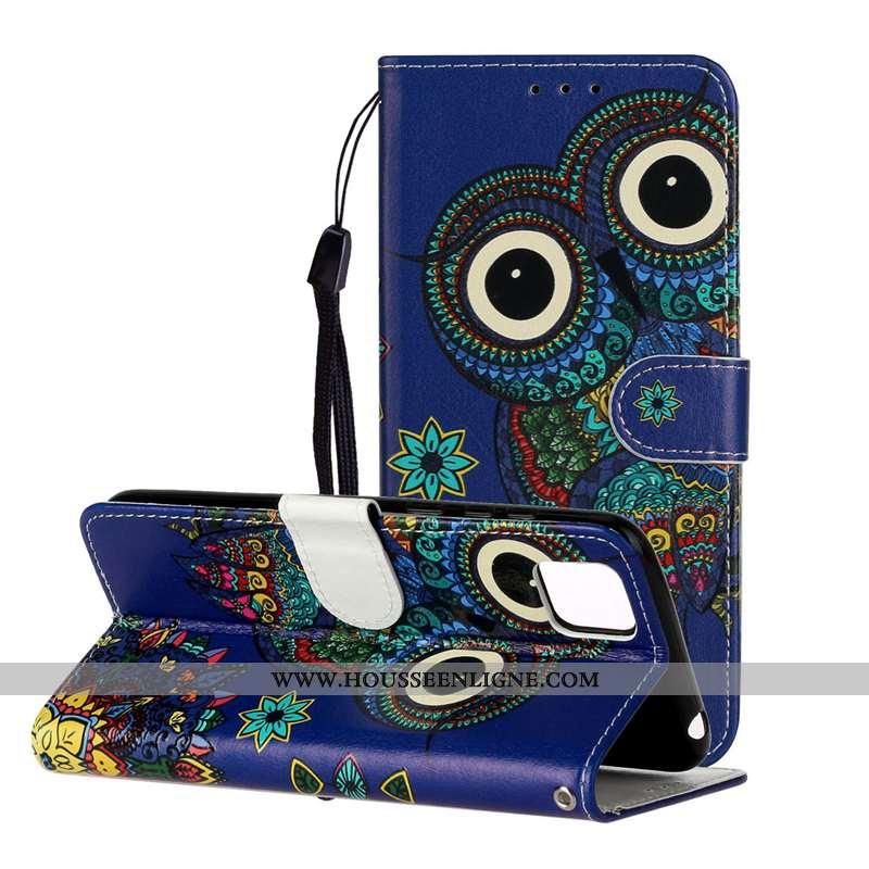 Coque Huawei Y5p Gaufrage Cuir Protection Étui Chat Bleu