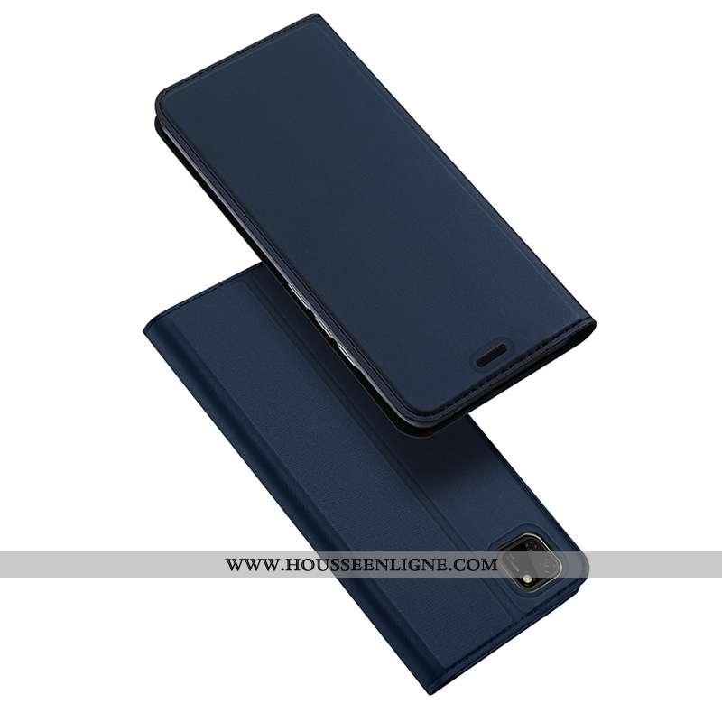 Coque Huawei Y5p Légère Cuir Carte Étui Clamshell Magnétisme Bleu