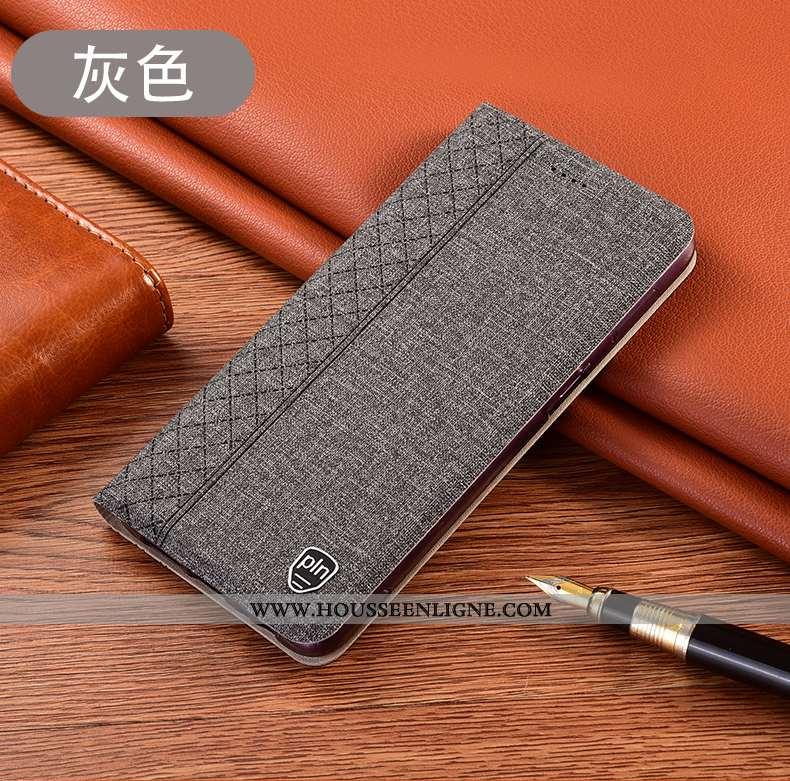 Coque Huawei Y5p Protection Cuir Téléphone Portable Lin Gris Incassable
