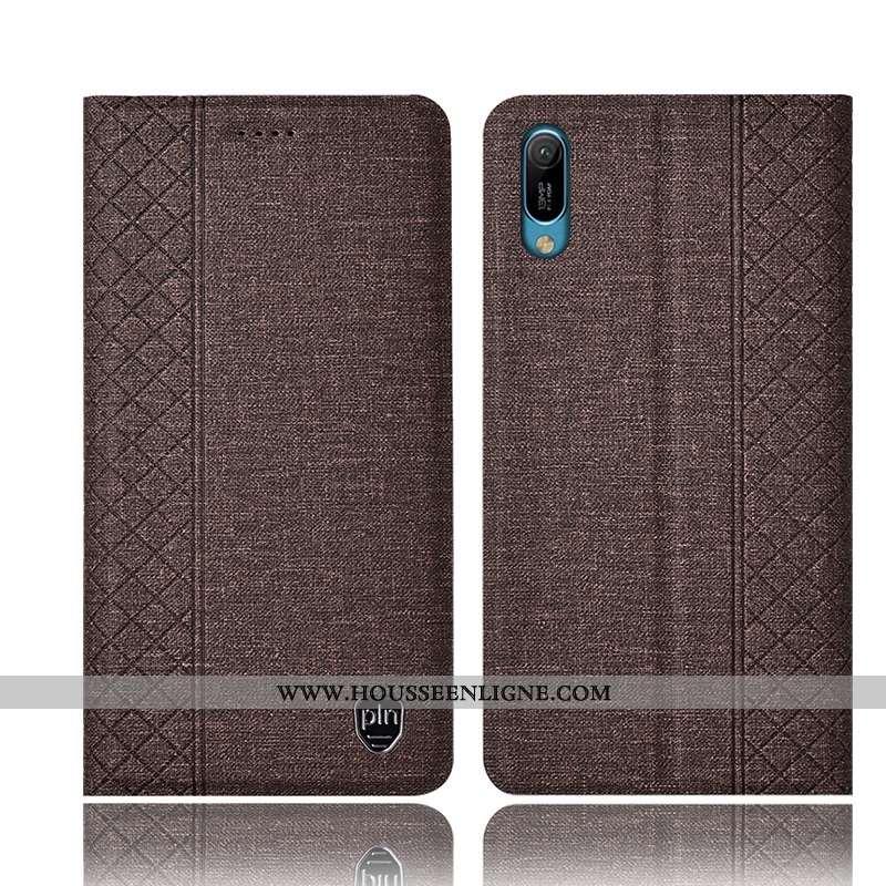 Coque Huawei Y6 2020 Cuir Lin Étui Téléphone Portable Tout Compris 2020 Marron