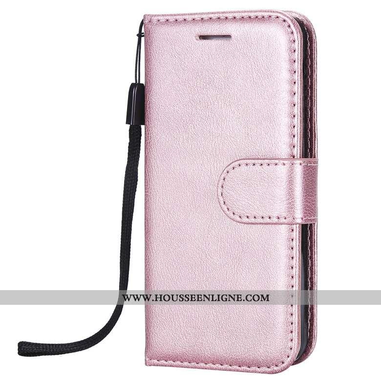 Coque Huawei Y6 2020 Fluide Doux Protection Étui Clamshell Téléphone Portable Tout Compris Cuir Rose