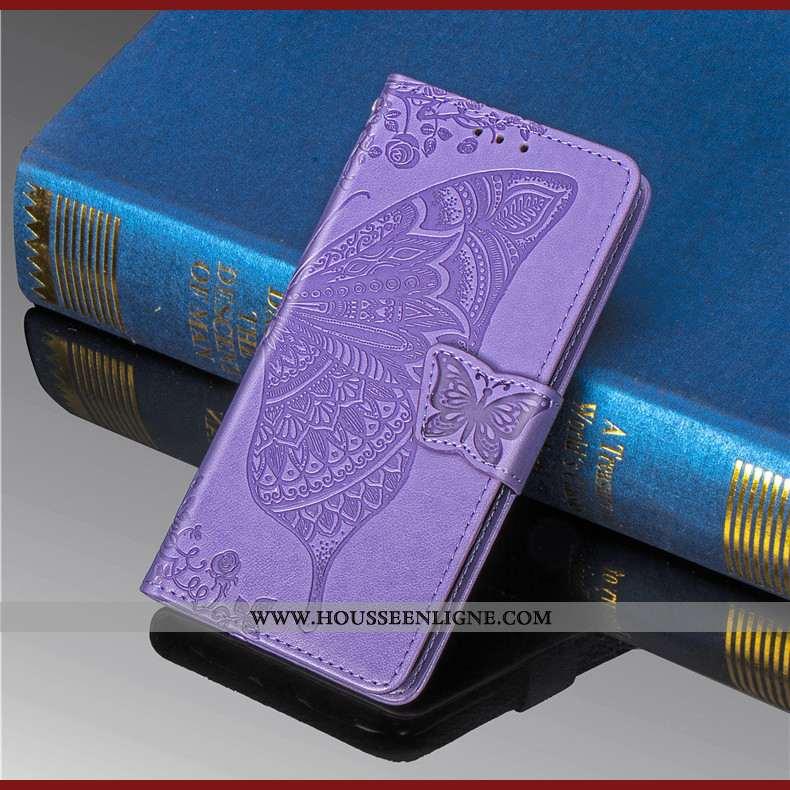 Coque Huawei Y6 2020 Gaufrage Charmant Fleur Étui Violet En Relief 2020
