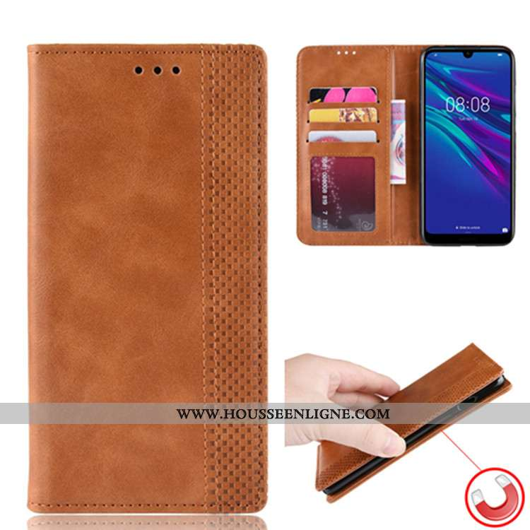Coque Huawei Y6 2020 Protection Portefeuille 2020 Téléphone Portable Magnétisme Étui Marron