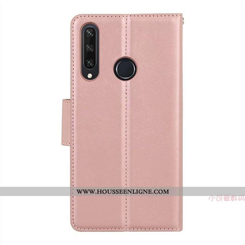 Coque Huawei Y6p Cuir Véritable Cuir Rose Incassable Étui Silicone Tout Compris