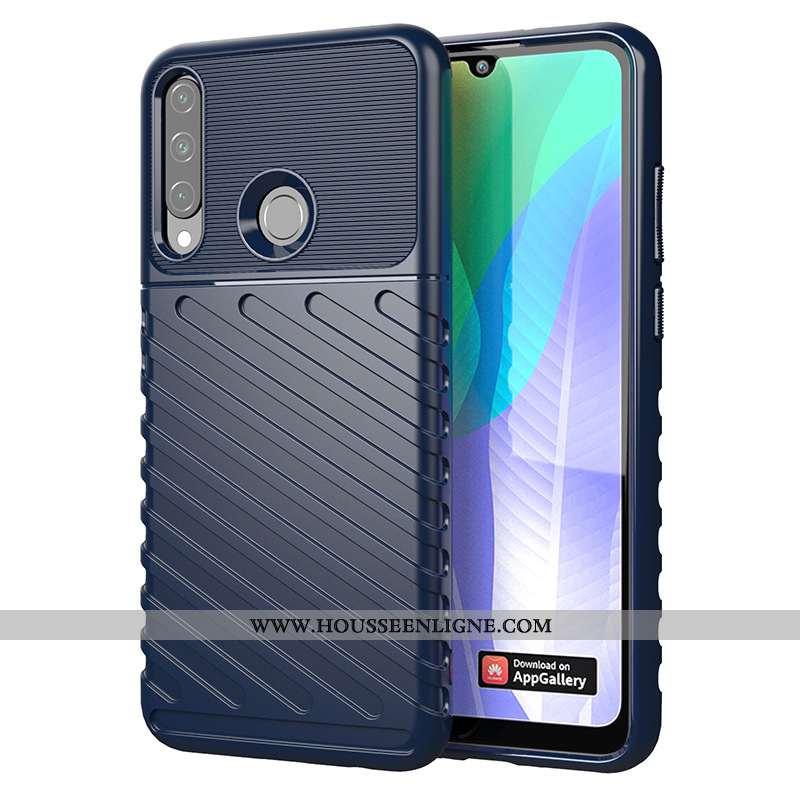 Coque Huawei Y6p Fluide Doux Incassable Bleu Téléphone Portable Europe Étui
