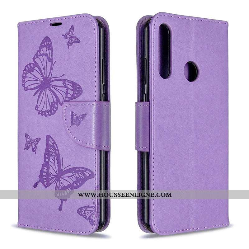 Coque Huawei Y6p Gaufrage Cuir Téléphone Portable Ornements Suspendus Violet Étui En Relief