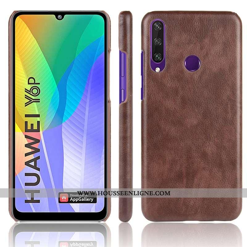 Coque Huawei Y6p Modèle Fleurie Protection Litchi Étui Difficile Téléphone Portable Marron