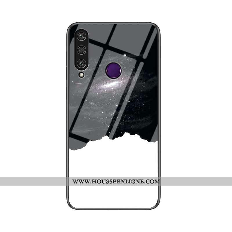 Coque Huawei Y6p Protection Verre Fluide Doux Dégradé Difficile Étui Noir