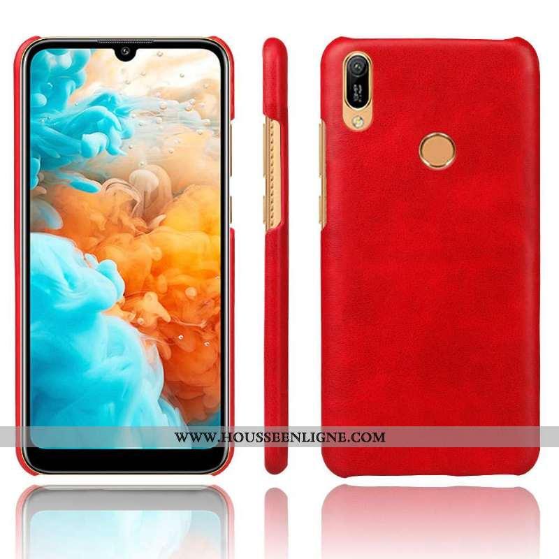 Coque Huawei Y6s Protection Délavé En Daim Légère Incassable Étui Difficile Rouge