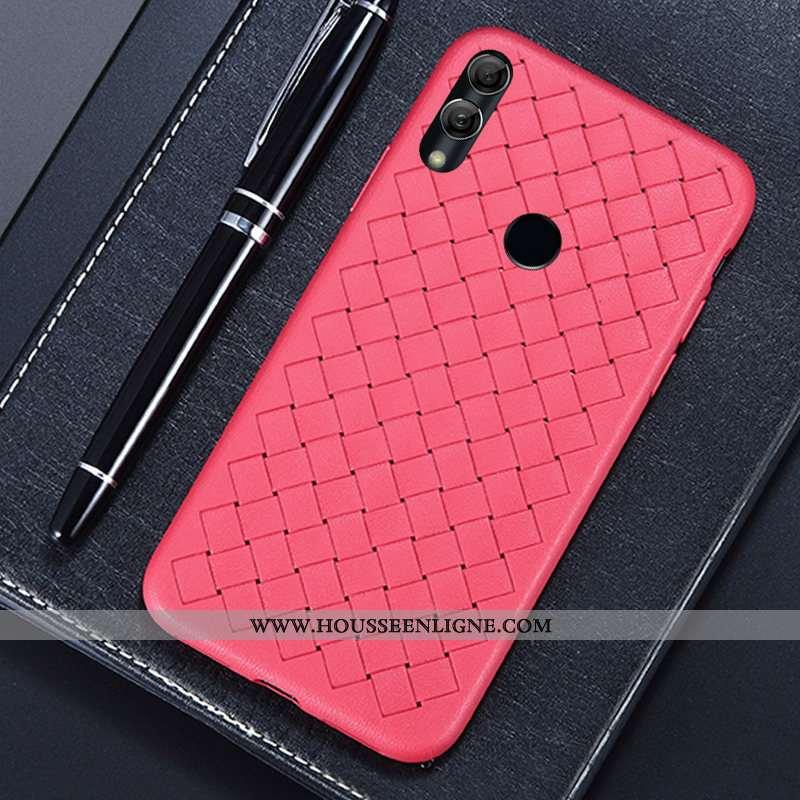 Coque Huawei Y7 2020 Cuir Modèle Fleurie Mode Téléphone Portable Tissage Étui Rouge