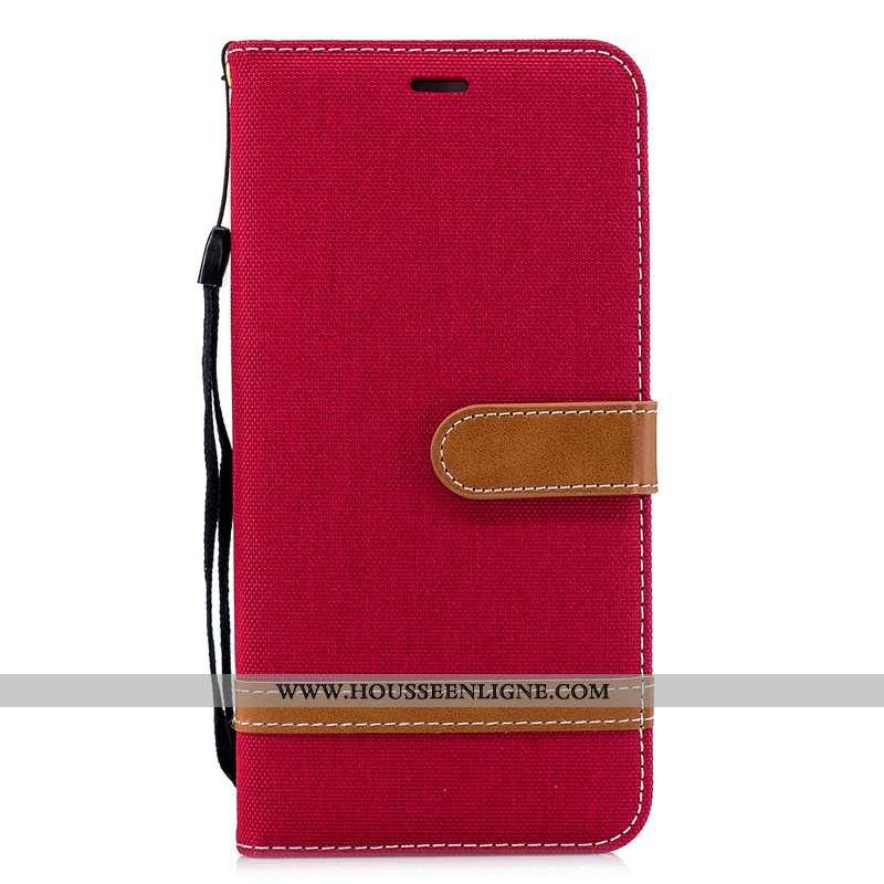 Coque Huawei Y7 2020 Cuir Protection Portefeuille En Denim Téléphone Portable Housse 2020 Rouge