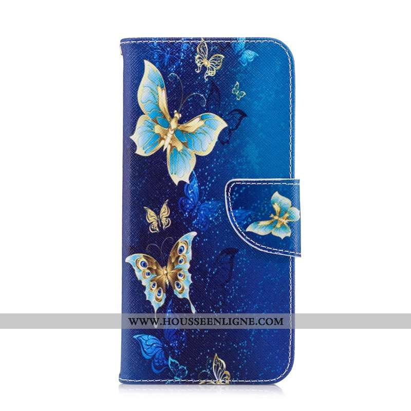 Coque Huawei Y7 2020 Cuir Protection Téléphone Portable Peinture Housse Étui Bleu Foncé